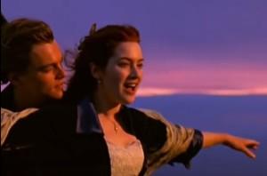 titanic romantic scene sunset