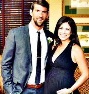 Michael Phelps with wife